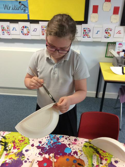 We used paper plates to make bees.