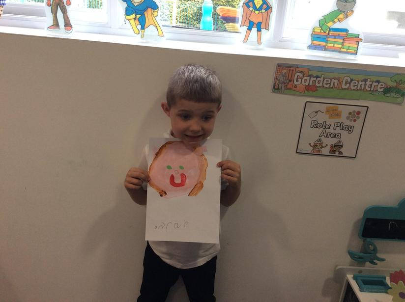 Painting ourselves on our first day in Year 1