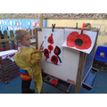 Beautiful poppy painting outdoors