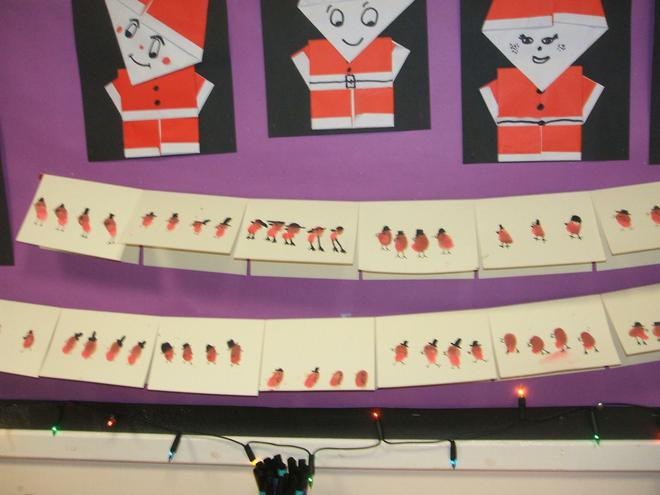Our robin cards and Father Christmas origami