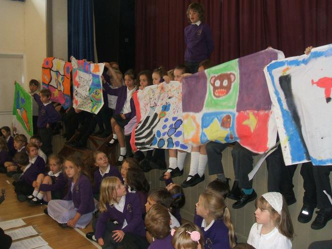 The flags that KS2 designed at the Eden Project