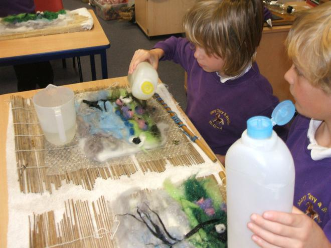 We added liquid soap and water all over the wool