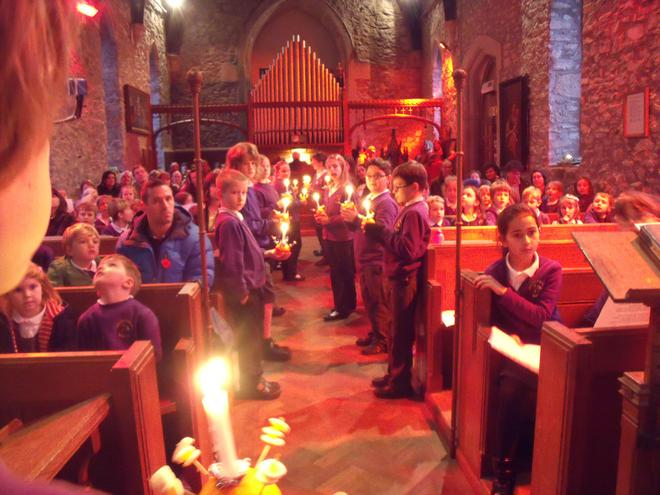 The Christingles were lit in the Church in Brentor
