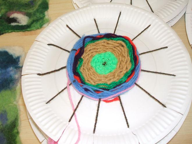 We used plates as looms for our weaving