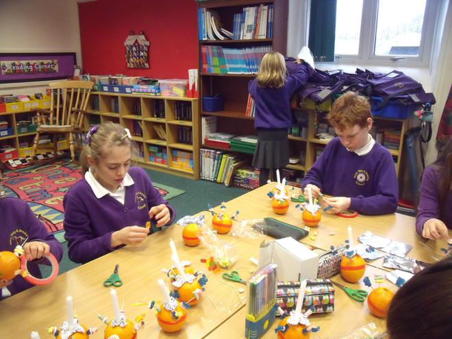 Class 4 made Christingles with Reader Sally
