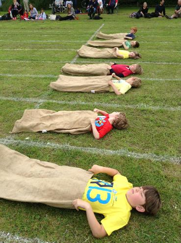 Getting ready for the sack race