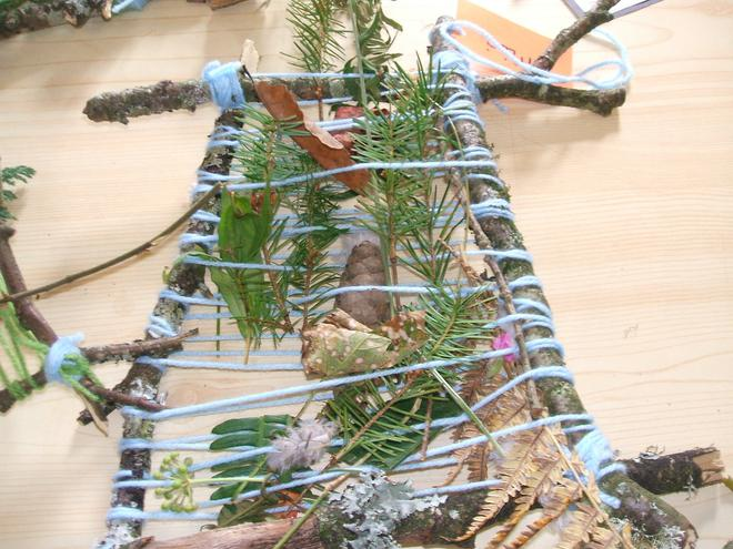 Class 1 used twigs, wool and leaves for weaving
