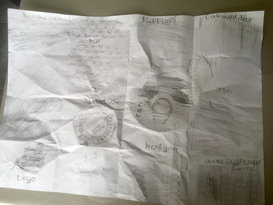 Rory's Art task - treasure hunt rubbings!