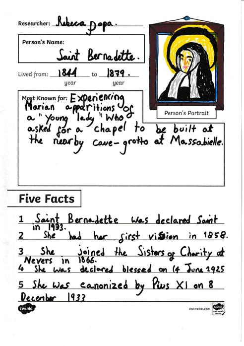 Rebeca - St Bernadette Fact File