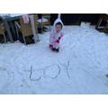 Dora's snow writing of 'oy' words.
