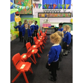Reception practising their green words