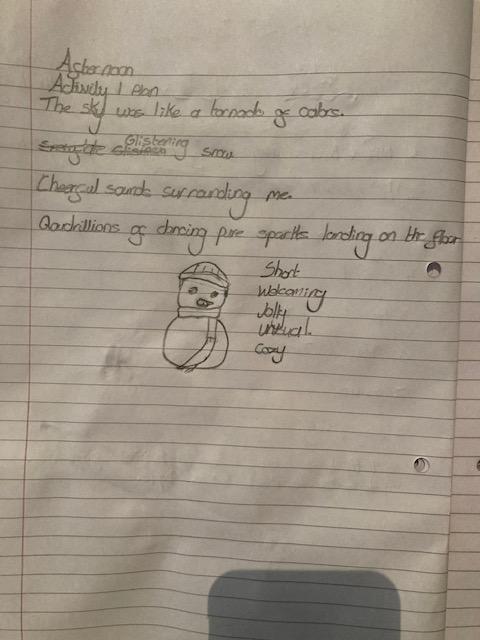 Emily plans her snowman.