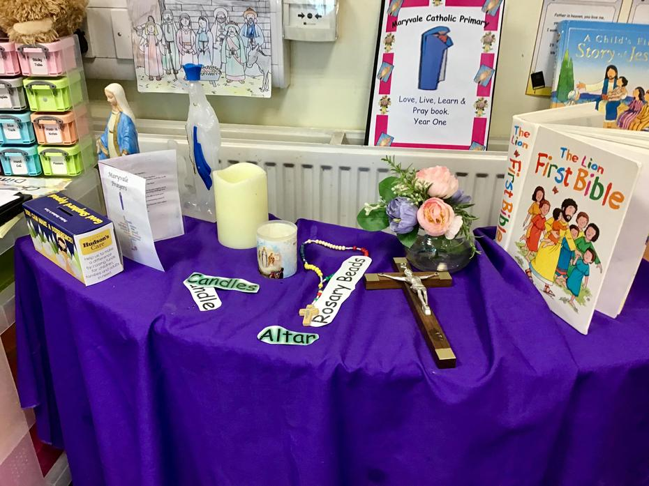 Year One's Advent prayer table - prepared by the children