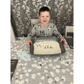 Toby practising cvc words with set 1 sounds in.