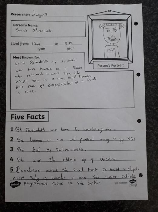 Abigail - St Bernadette Fact File