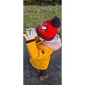 Sebby is on his winter walk looking through his binoculars! What did Sebby see?
