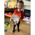 Frankie is very pleased with the dinosaur he has made! Superwork!