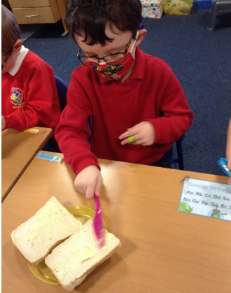 Spreading the margarine...