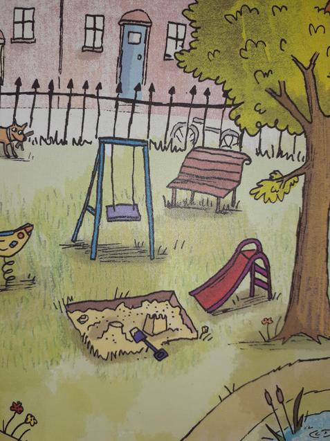 There is a swing in the park.
