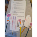 Katelyn has been busy making puppets for the story of 'The Three Pigs'