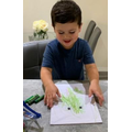 Mark making using different shades of green to create a frog