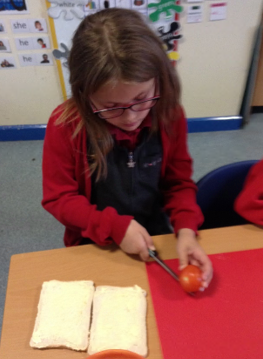 Slicing the tomatoes...