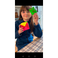 Olivia (4R) completing an origami task.