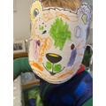 Ethan's colourful bear mask!