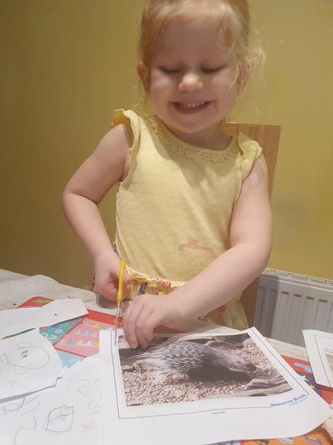Katelyn has been practising her scissor skills