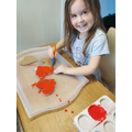 Isabel has been painting some hearts.