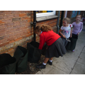 Filing our grow bags up with soil.