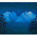 "Harald Sohlberg (1869-1935) ""Vinternatt i Rondane"", 1911-14. He made many versions of this painting between 1901 and 1924.  Sohlberg belonged to the neo-romantic movement."