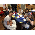 The waiters and waitresses enjoying a cuppa!