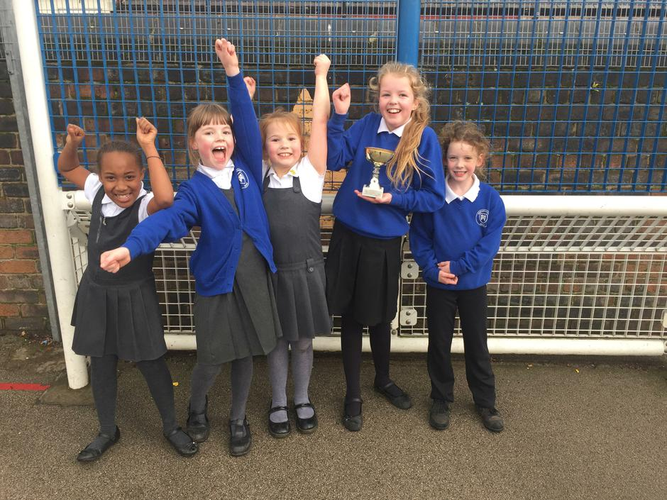 Girls lunchtime basketball competition winners