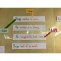 We wrote sentences using rainbow grammar pens.