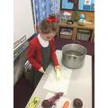 Chopping the leeks