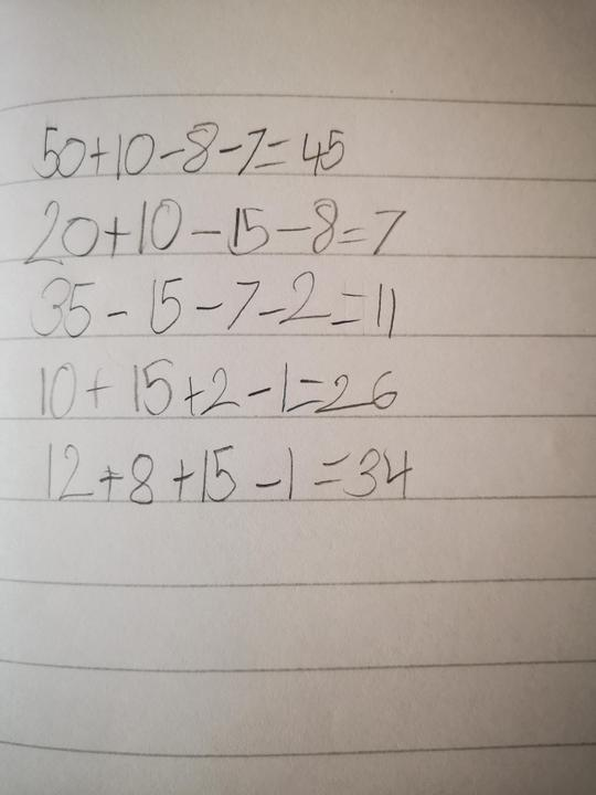 Addition and subtraction work by Wiktoria.