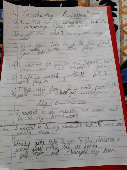 Lovely sentences using conjunctions Nauman!