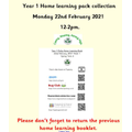Don't forget to return the previous home learning booklet when collecting this week's pack