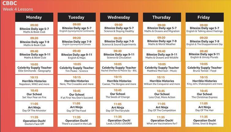 CBBC schedule this week