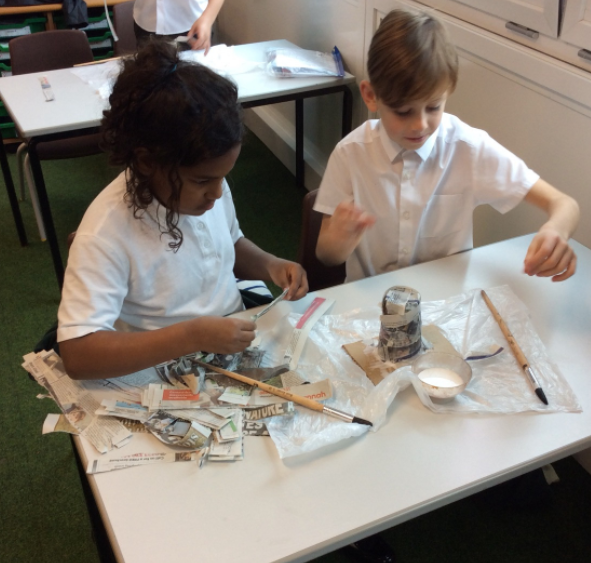 During our Mountains topic we creates Papier Mache mountains.