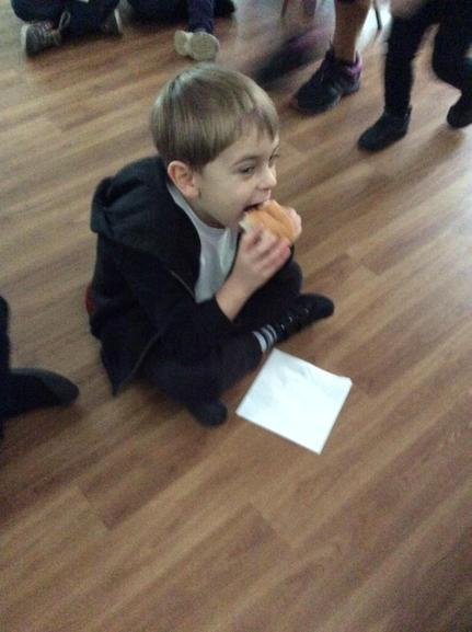 Enjoying hot dogs!