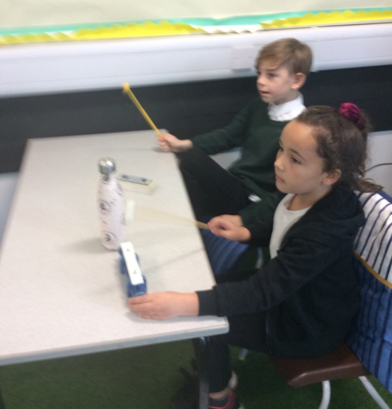 During music lessons we practiced playing the Glockenspeil.