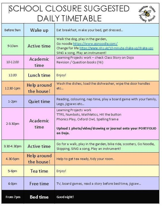 A suggested timetable for the day!