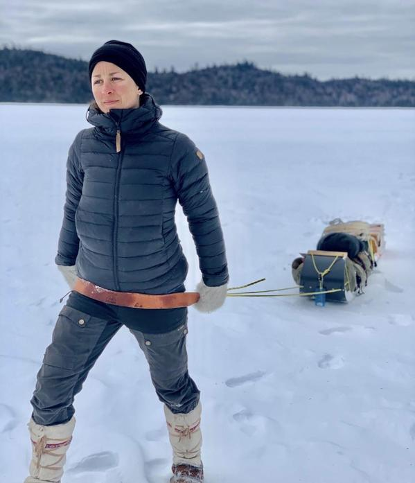 Claire spent a month in Canada pulling a sledge across the snow.