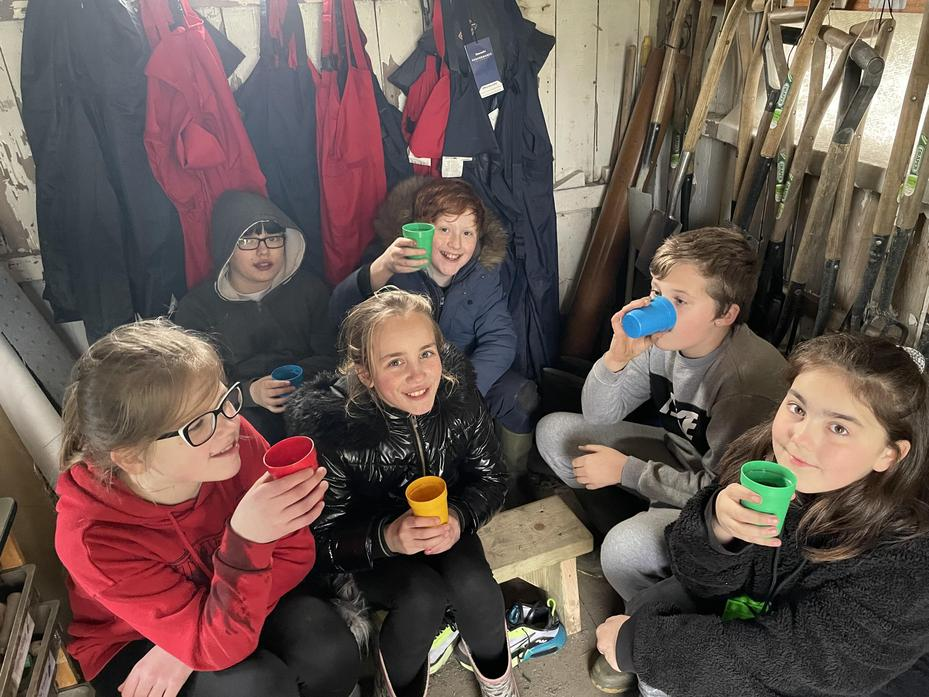 Year 6 having a well deserved cup of hot chocolate