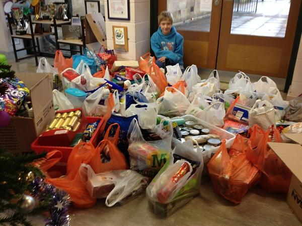 All of the donations from school