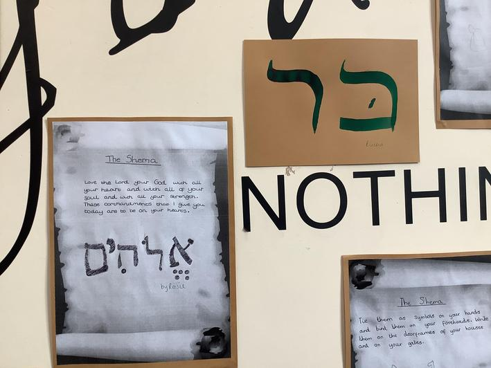 The Shema Prayer and people's initials written in Hebrew.