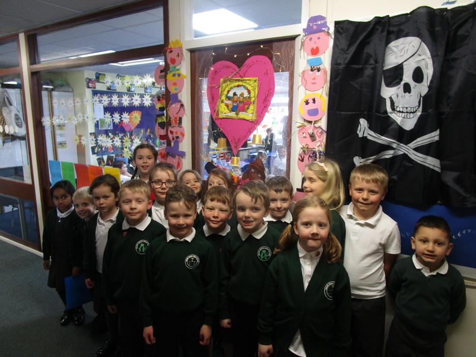 School Council judging the door competition