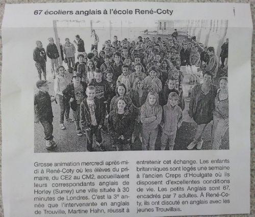 Local press report on our children's visit...